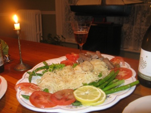 """Capellinini"" with asparagus, scallops, lemon, fresh tomatoes, and a side of modest steak slices!"