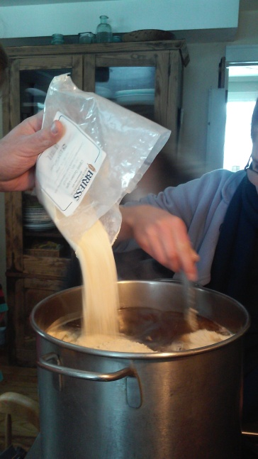 Then comes the Dry Malt Extract...Two bags. This is a sweet Wort.