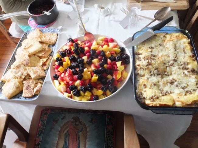 Home made Cheese Blintzes, Fruit Salad, and Egg Strada!